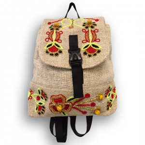 Front of Beaded Hemp Backpack