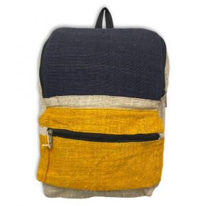 Front of Blue and Yellow Hemp Backpack