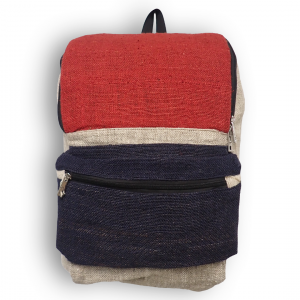 Front of Red and Blue Hemp Backpack